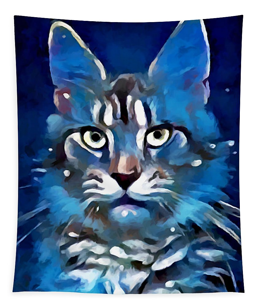 Maine Coon Tapestry featuring the painting Maine Coon by Chris Butler