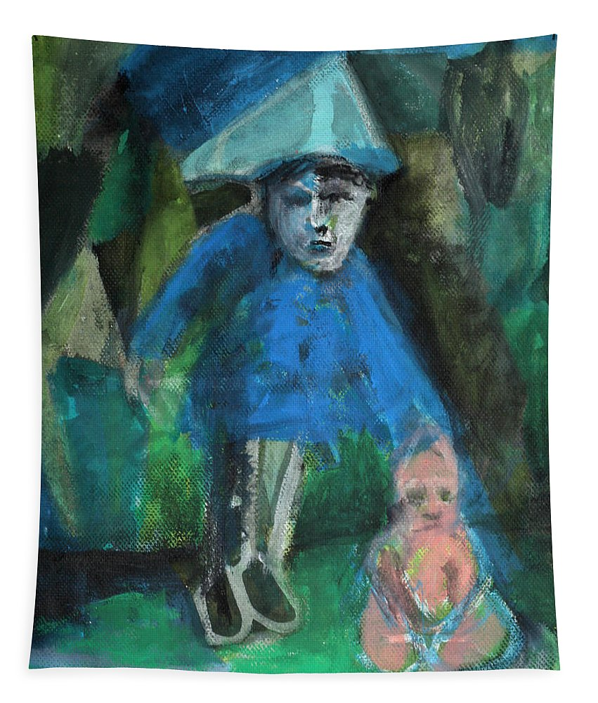 Portrait Tapestry featuring the painting Man In A Park With A Baby by Edgeworth DotBlog