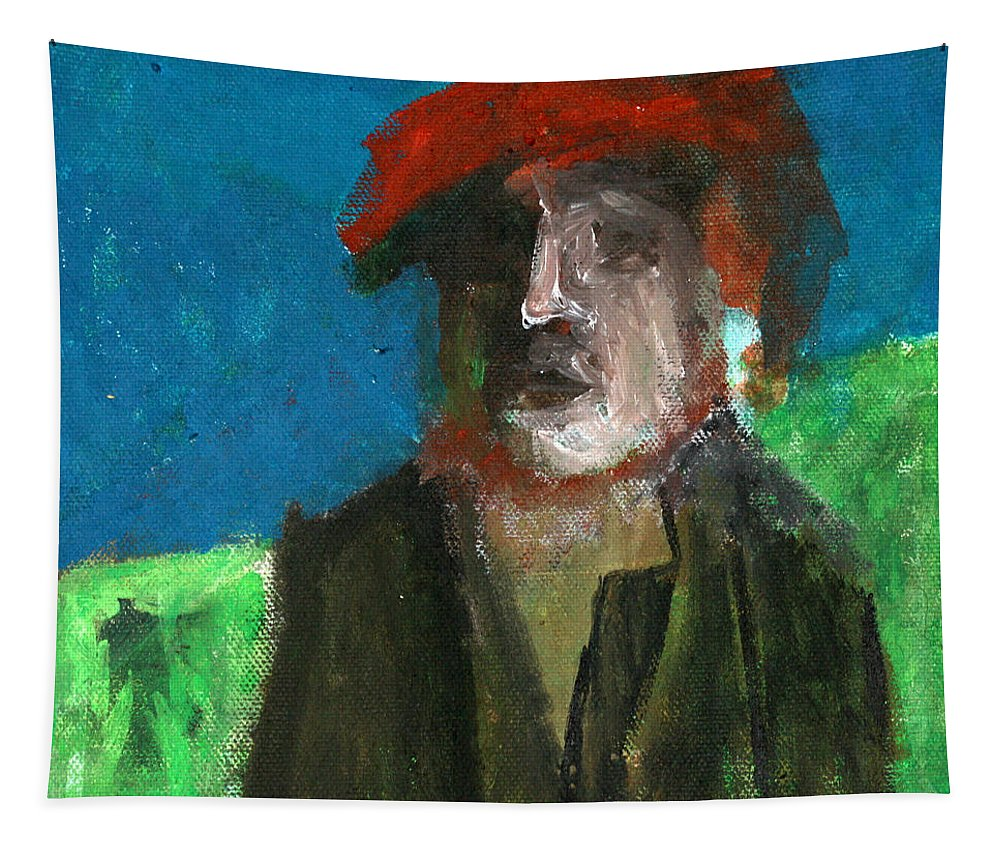Man Tapestry featuring the painting Man In A Red Hat by Edgeworth DotBlog