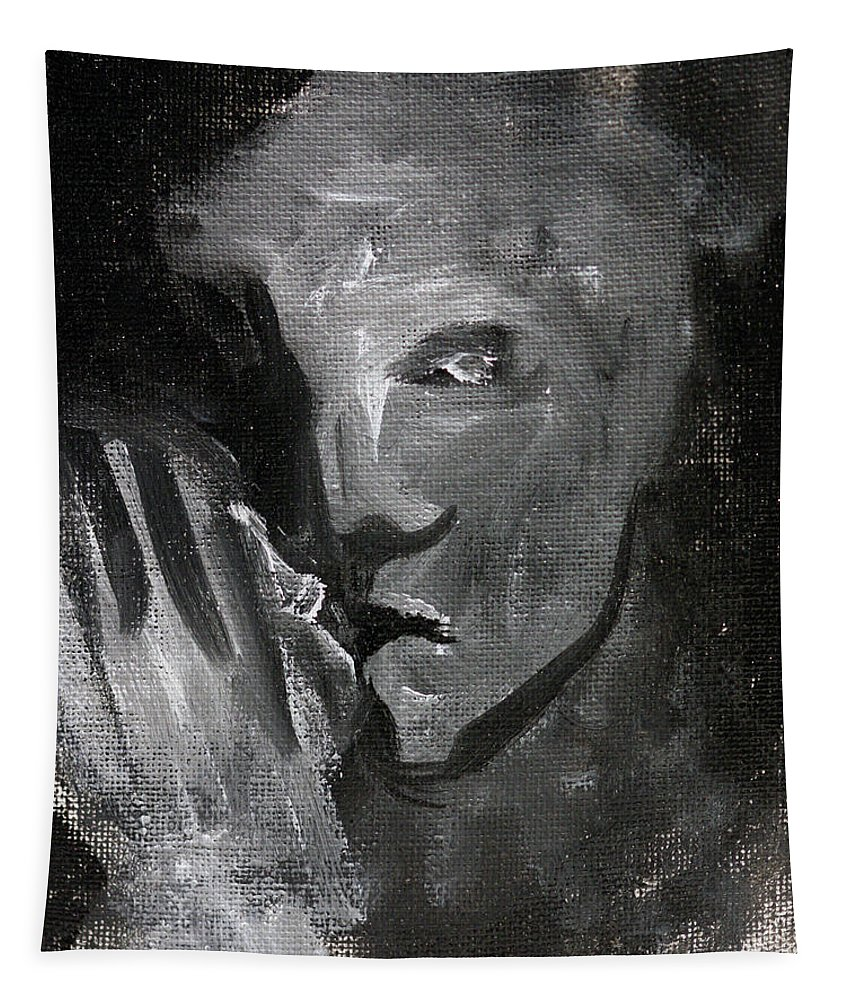 Man Tapestry featuring the painting Man In The Dark by Edgeworth DotBlog