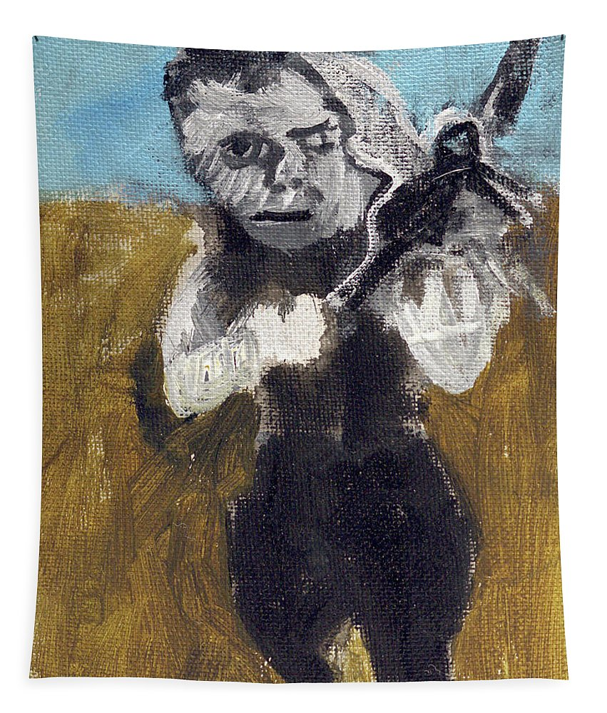 Man Tapestry featuring the painting Man Running With A Bird by Edgeworth DotBlog