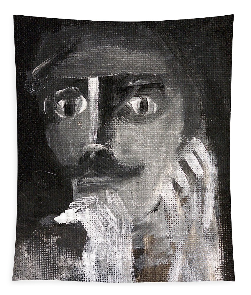 Moustache Tapestry featuring the painting Man With A Handlebar Moustache by Edgeworth DotBlog