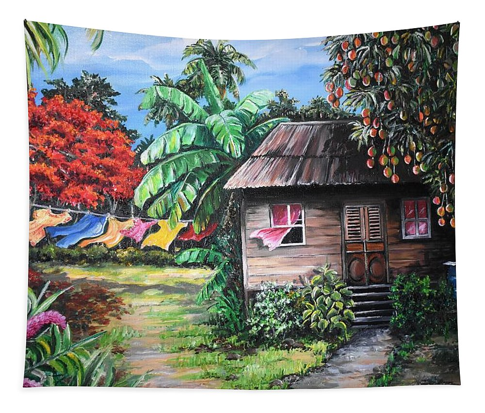 Old House Tapestry featuring the painting Mango Season by Karin Dawn Kelshall- Best