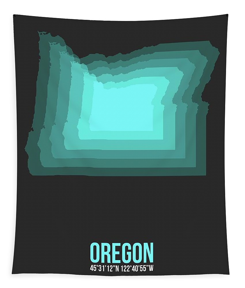 Map Of Oregon Tapestry featuring the digital art Map Of Oregon,teal by Naxart Studio