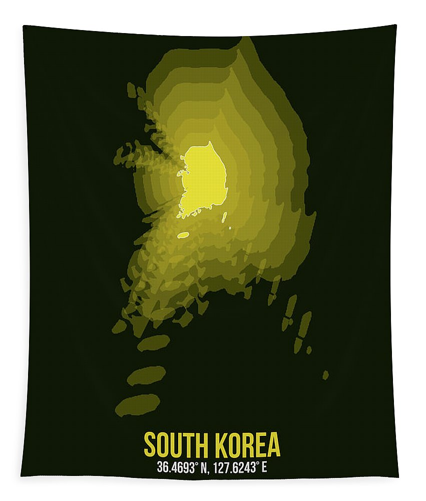 Map Of South Korea Tapestry featuring the digital art Map Of South Korea 2 by Naxart Studio