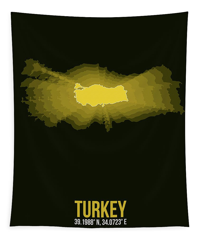 Map Of Turkey Tapestry featuring the digital art Map Of Turkey 3 by Naxart Studio