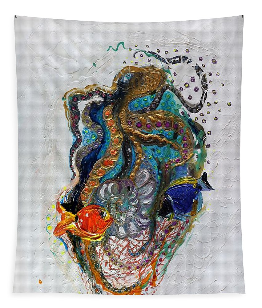 Sea Life Tapestry featuring the painting Mare Nostrum Series #7. Black Octopus by Elena Kotliarker