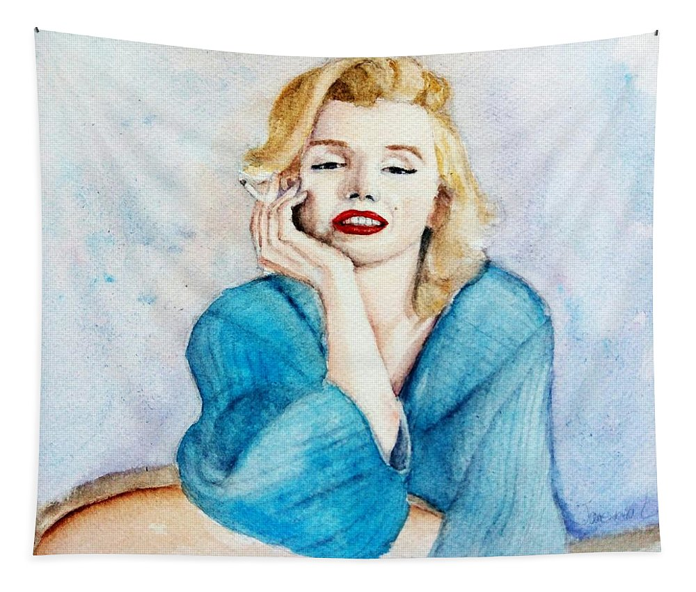 Watercolor Tapestry featuring the painting Marilyn Monroe by Janevona Liu