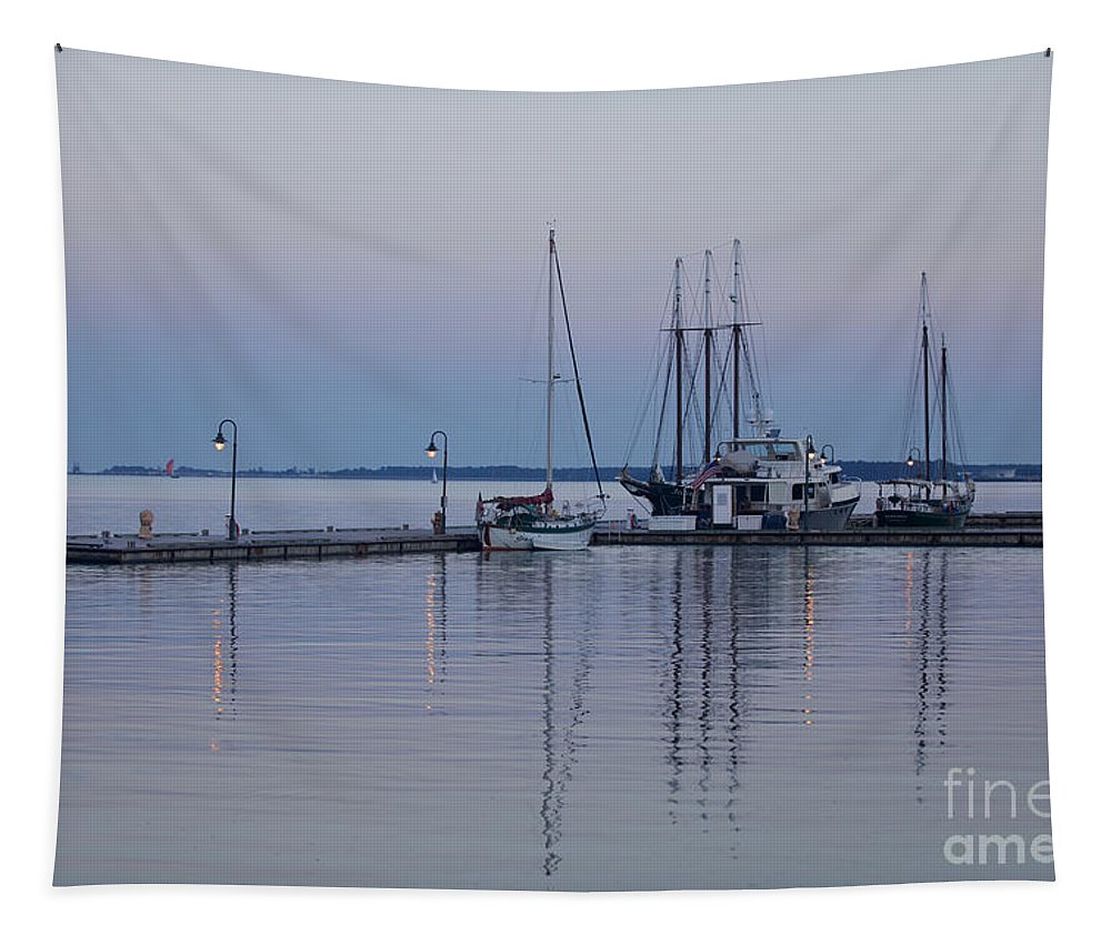 Marina Tapestry featuring the photograph Marina Twilight by Rachel Morrison