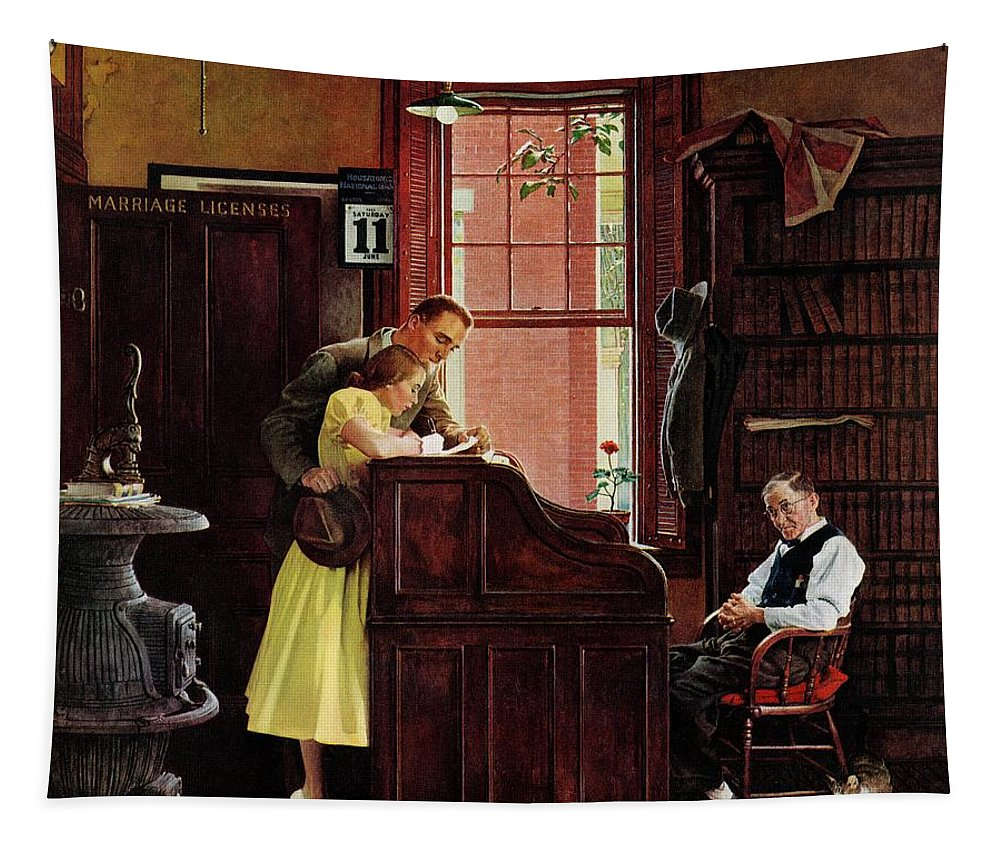 Clerks Tapestry featuring the drawing Marriage License by Norman Rockwell