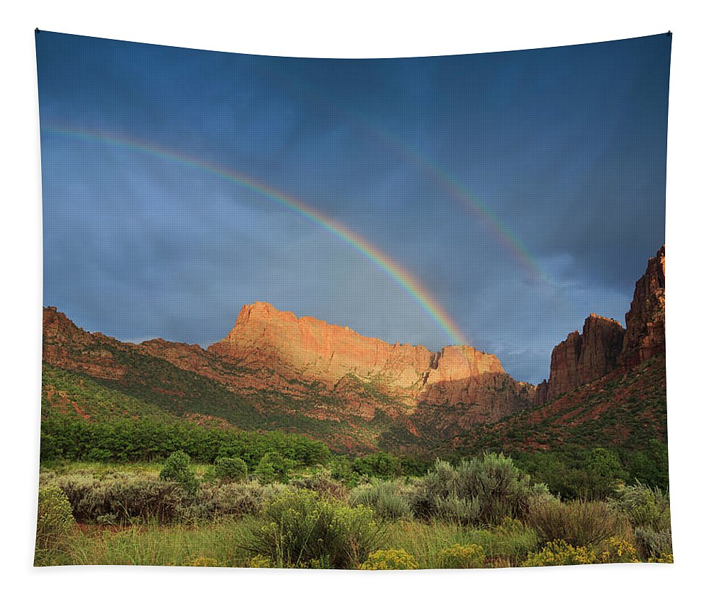 Rainbow Tapestry featuring the photograph Maxwell Canyon Rainbow by Maria Jeffs