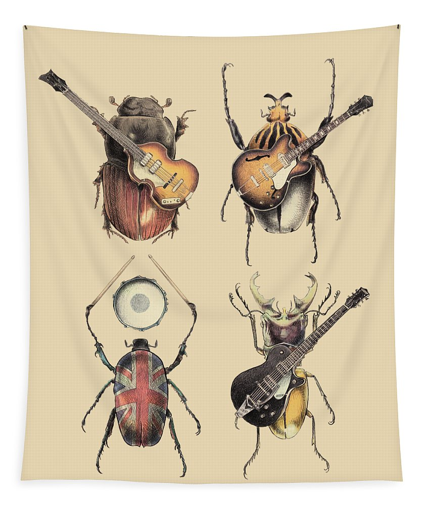 Beatles Tapestry featuring the digital art Meet the Beetles by Eric Fan