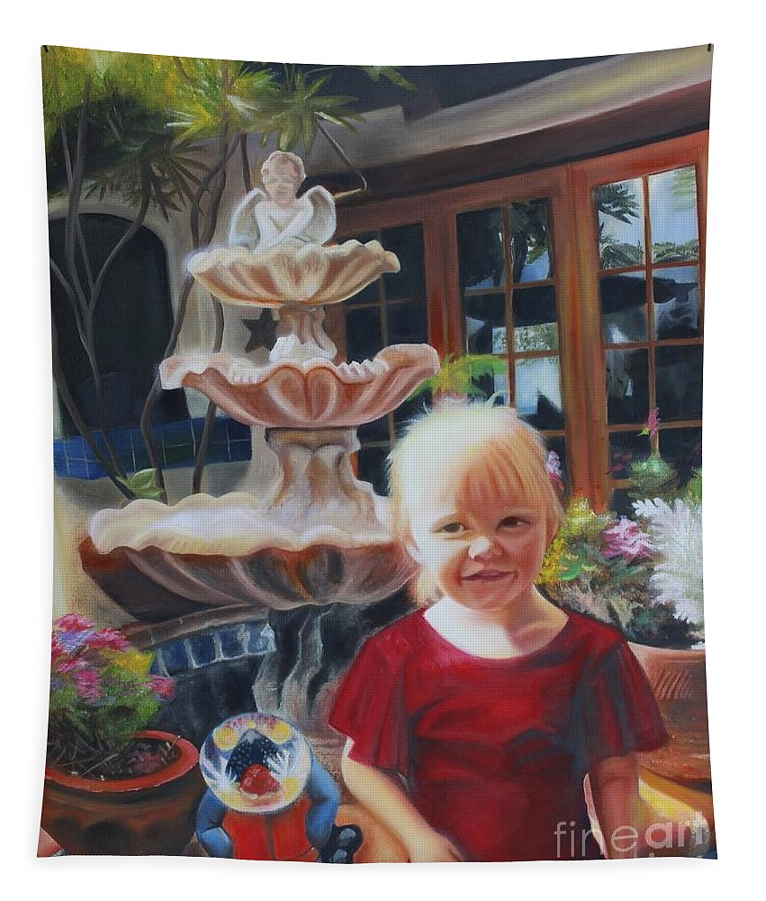 Child Painting Tapestry featuring the painting Melody By The Fountain by Wendi Tooth