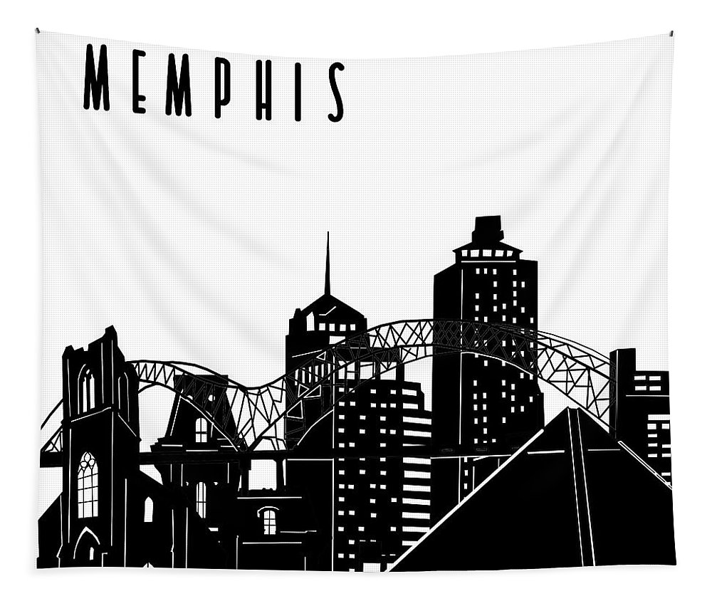 Memphis Tapestry featuring the digital art Memphis Skyline Panorama by Bekim M