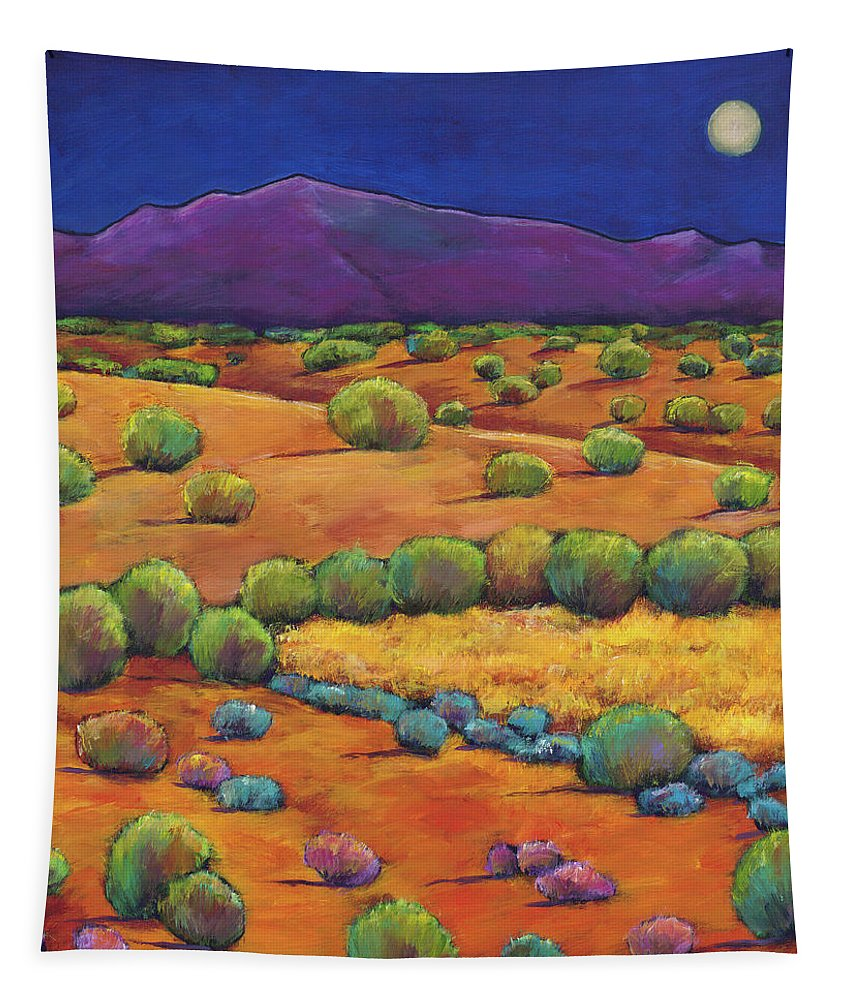 Contemporary Southwest Tapestry featuring the painting Midnight Sagebrush by Johnathan Harris