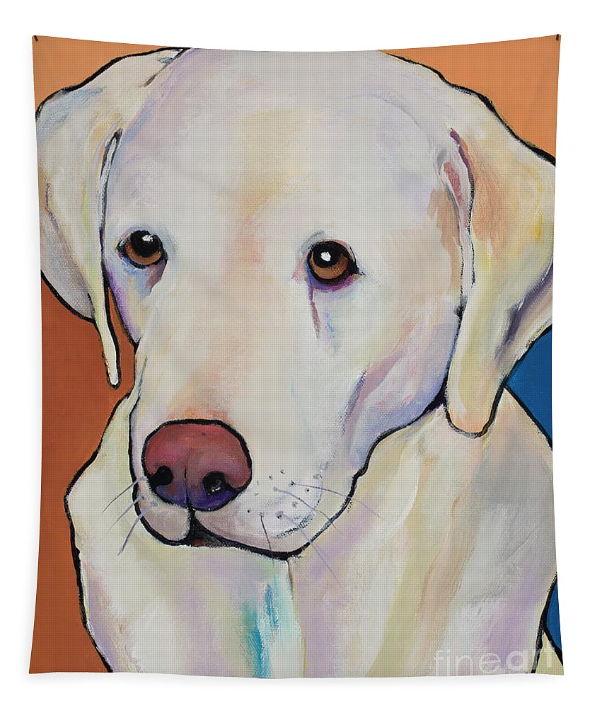 Yellow Lab Tapestry featuring the painting Mille by Pat Saunders-White