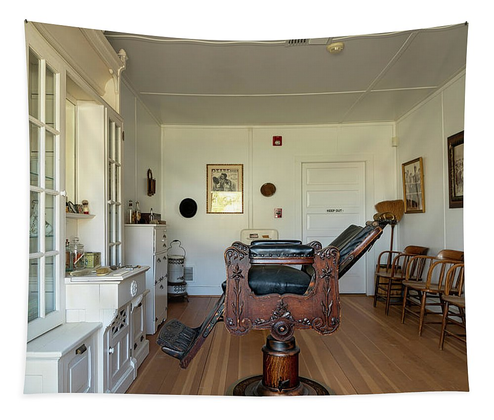Barbershop Tapestry featuring the photograph Milner Barbershop - Allensworth State Park by Gene Parks