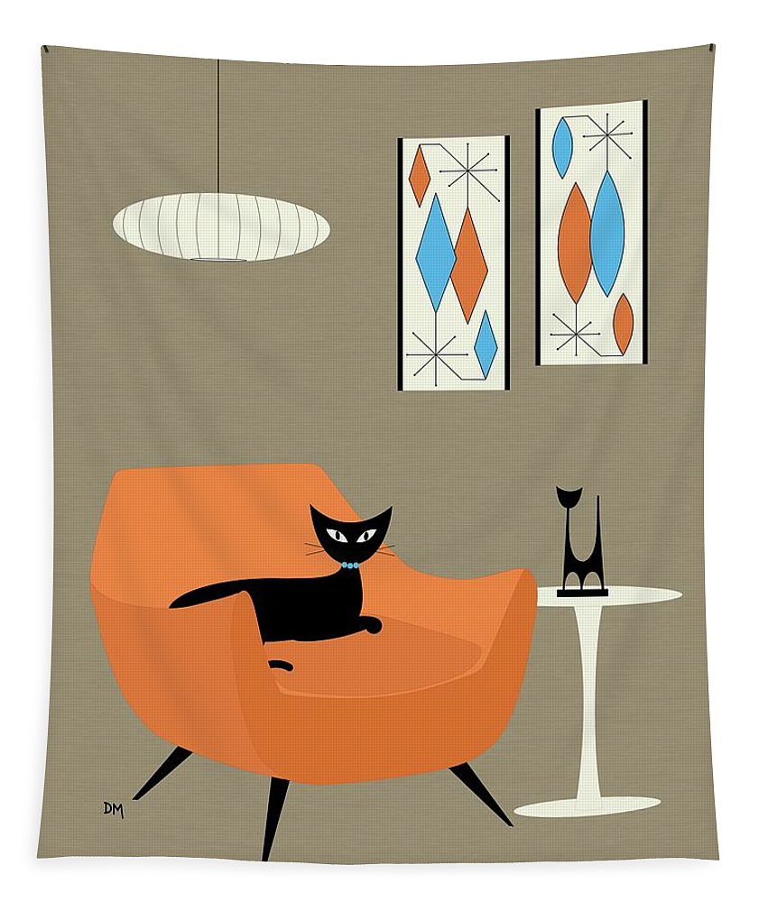 Tapestry featuring the digital art Mini Gravel Art Orange Chair by Donna Mibus