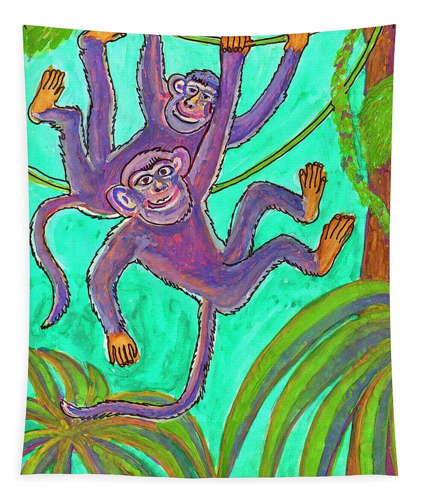 Smile Tapestry featuring the painting Monkeys On Creepers by Dobrotsvet Art