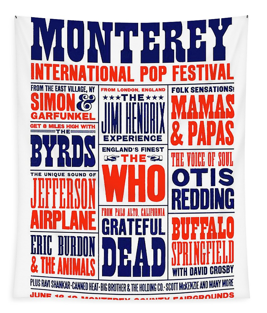 Monterey Pop Festival Tapestry featuring the mixed media Monterey Pop Festival, poster by Thomas Pollart