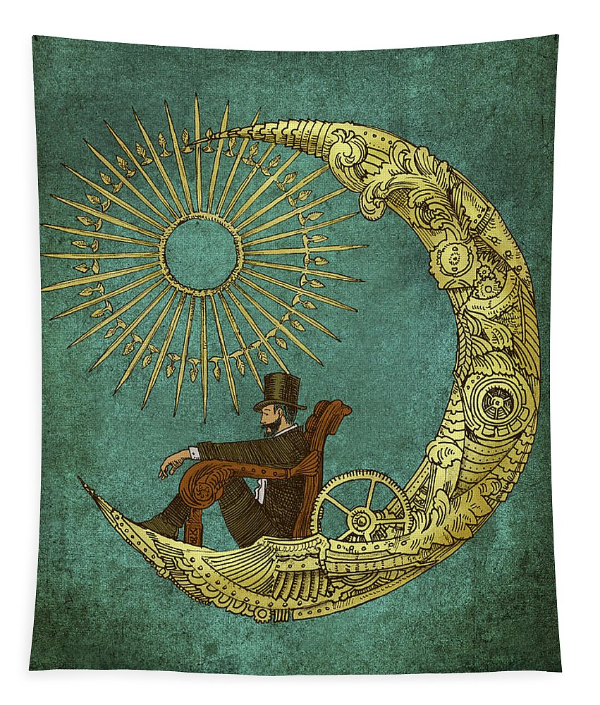 Moon Tapestry featuring the drawing Moon Travel - option by Eric Fan