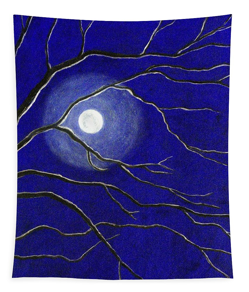 Blue Tapestry featuring the painting Moonglow by Jean Ehler