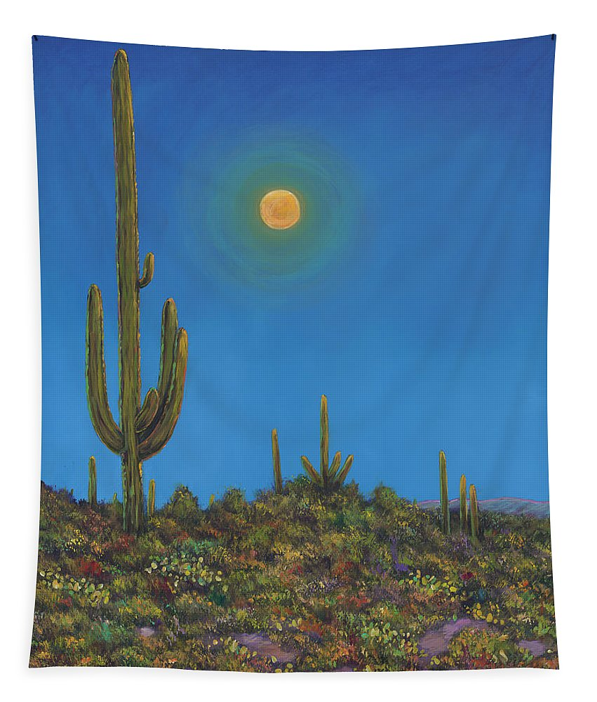 Arizona Tapestry featuring the painting Moonlight Serenade by Johnathan Harris