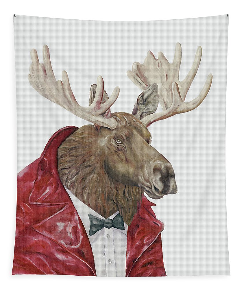 Moose Tapestry featuring the painting Moose by Animal Crew