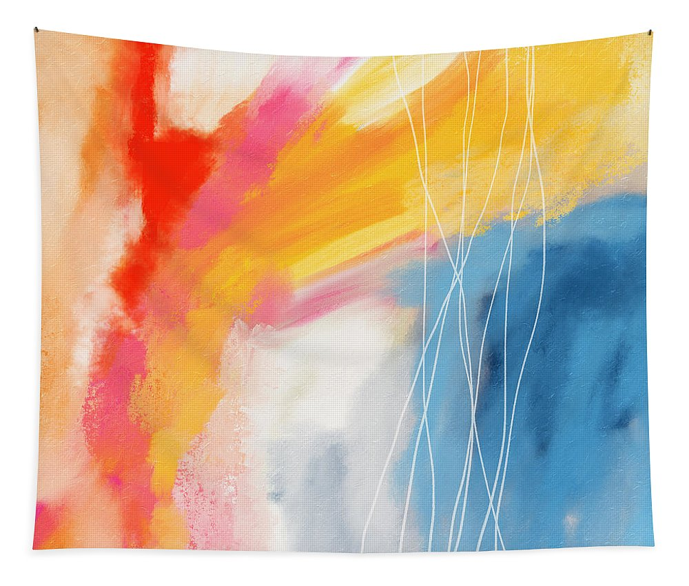 Abstract Tapestry featuring the mixed media Morning 2- Art by Linda Woods by Linda Woods