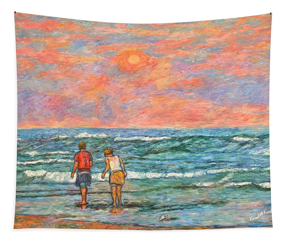 Isle Of Palms Tapestry featuring the painting Morning Stroll at Isle of Palms by Kendall Kessler