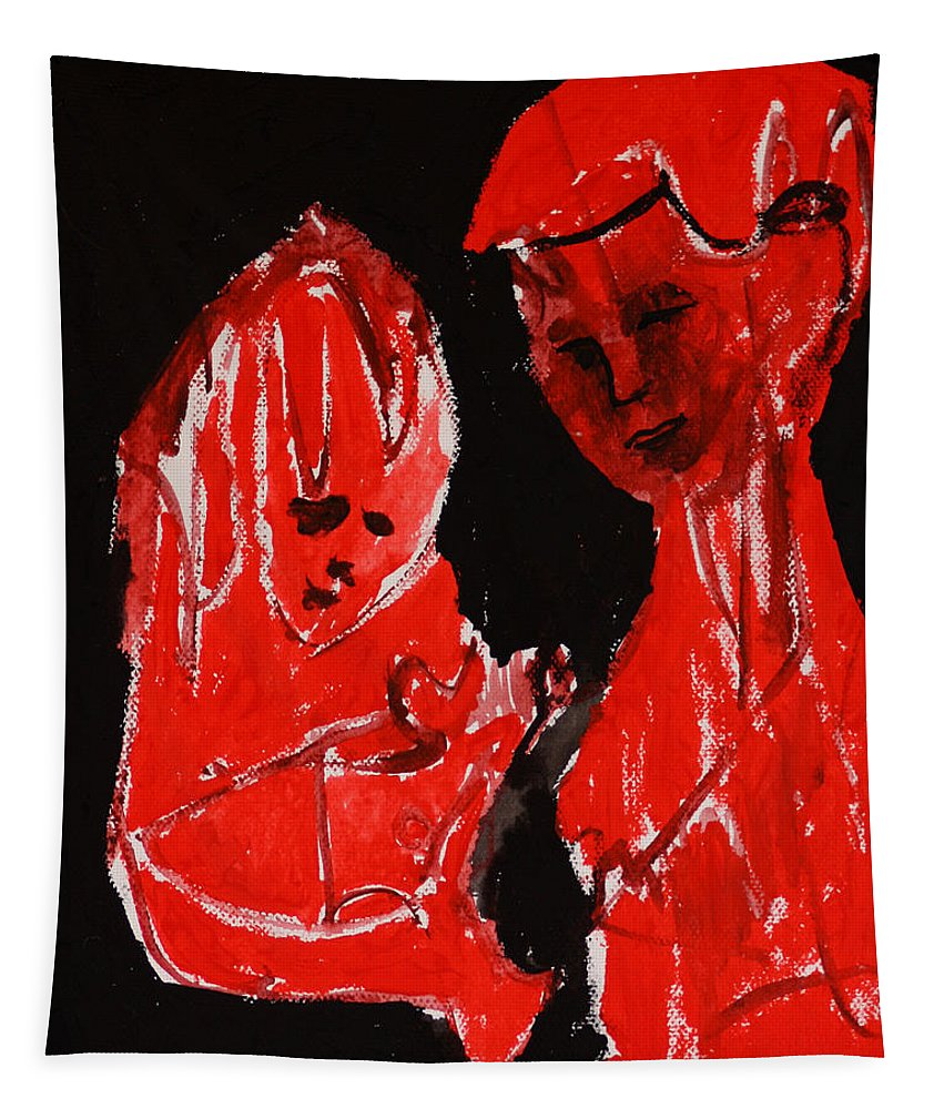 Red Tapestry featuring the painting Mother And Child by Edgeworth DotBlog