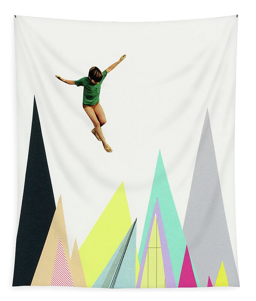 Mountains Tapestry featuring the mixed media Mountain Jump by Cassia Beck