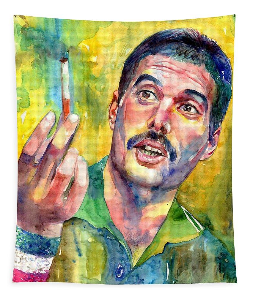 Freddie Mercury Tapestry featuring the painting Mr Bad Guy - Freddie Mercury Portrait by Suzann Sines