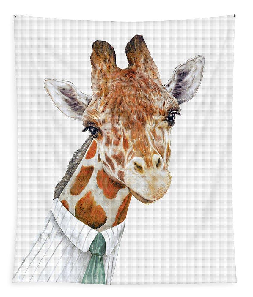 Giraffe Tapestry featuring the painting Mr Giraffe by Animal Crew