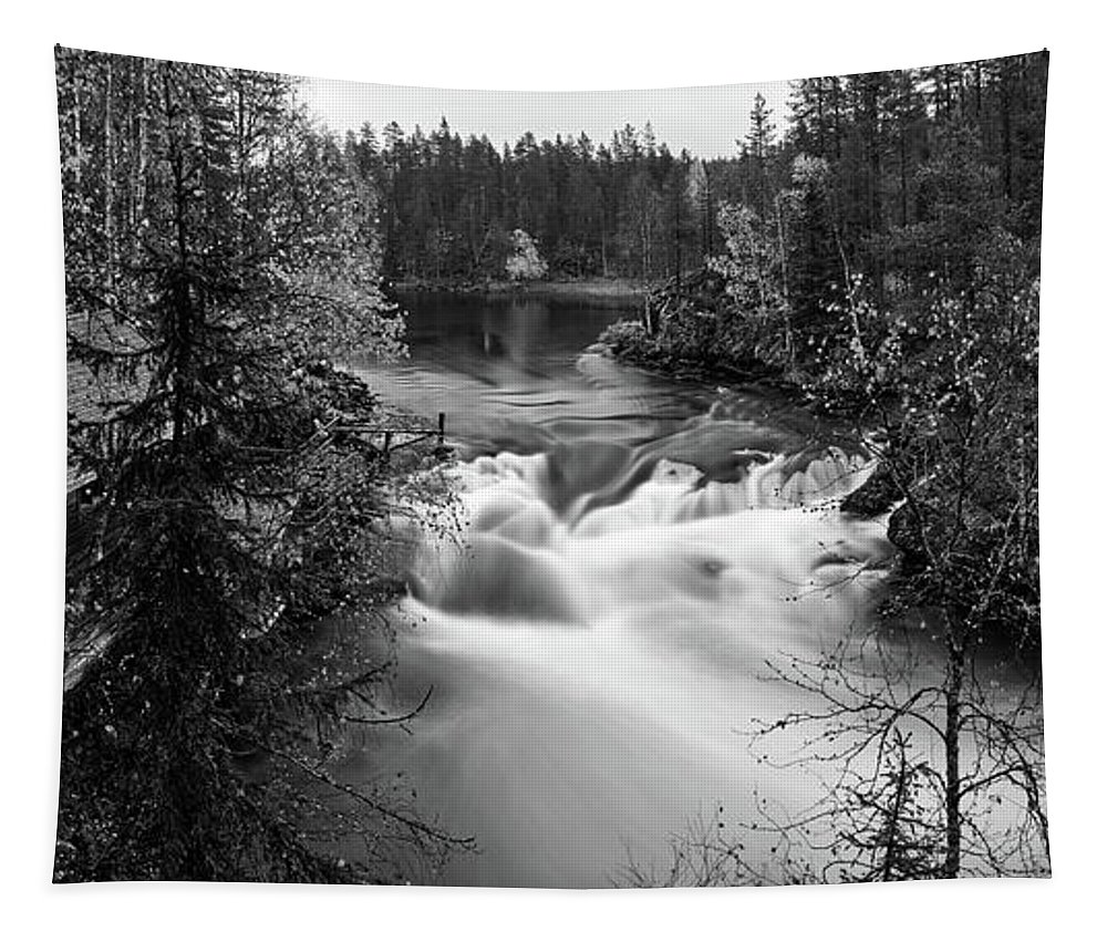 Finland Tapestry featuring the photograph Myllykoski Bw Panorama by Jouko Lehto