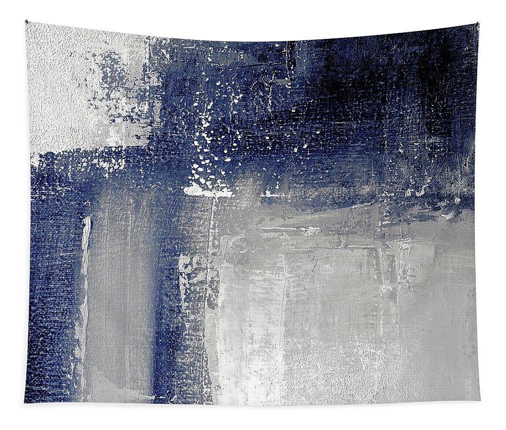 Grey Tapestry featuring the painting Navy blue and grey abstract by Vesna Antic