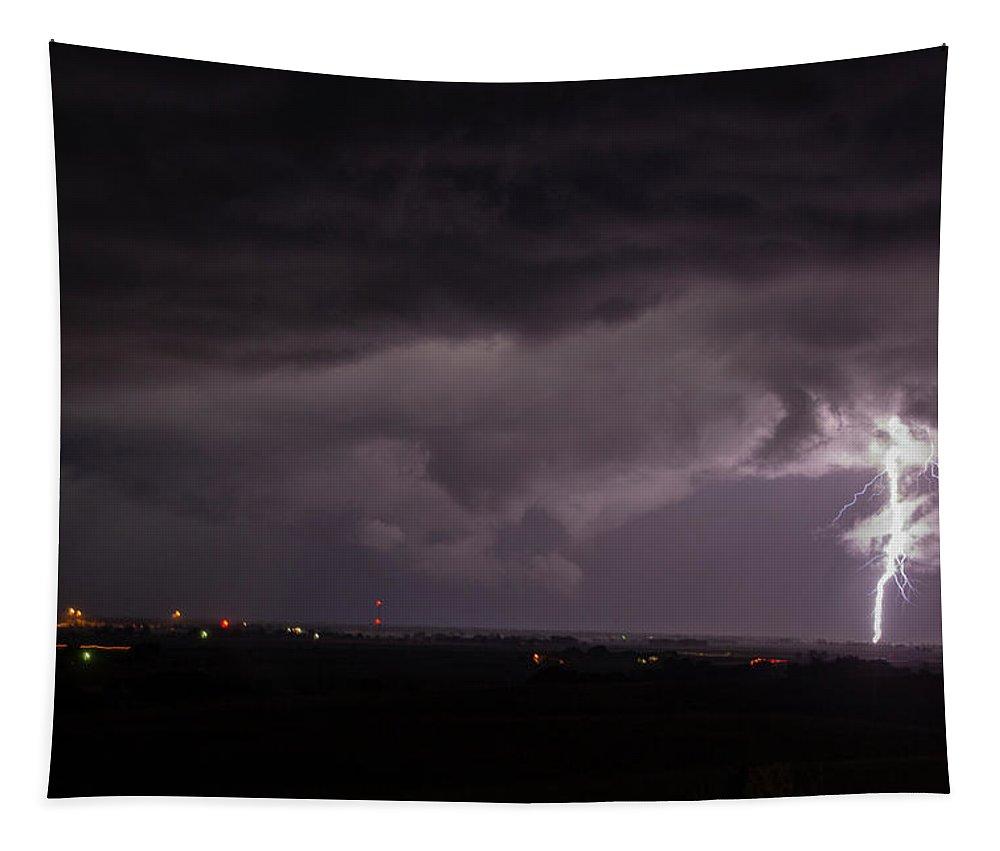 Nebraskasc Tapestry featuring the photograph Nebraska Arcus And Lightning 044 by NebraskaSC
