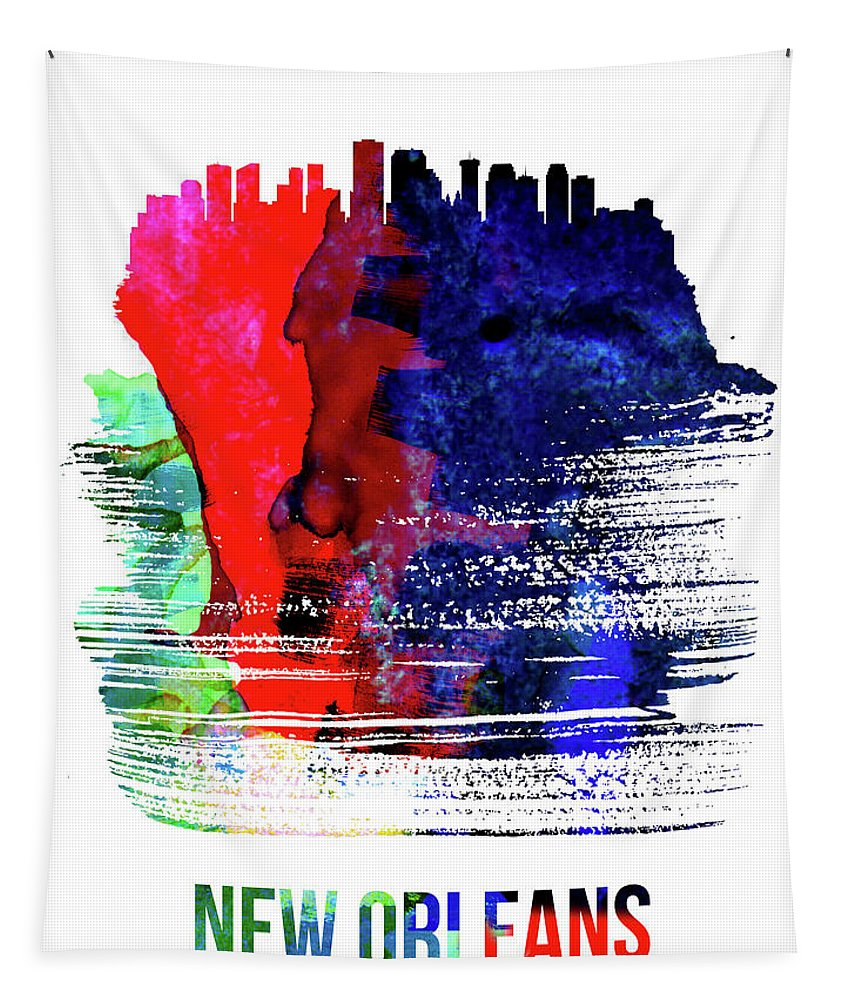 Tapestry featuring the mixed media New Orleans Skyline Brush Stroke Watercolor  by Naxart Studio