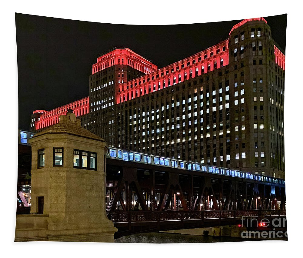 Chicago Tapestry featuring the photograph Night City Colors by Izet Kapetanovic