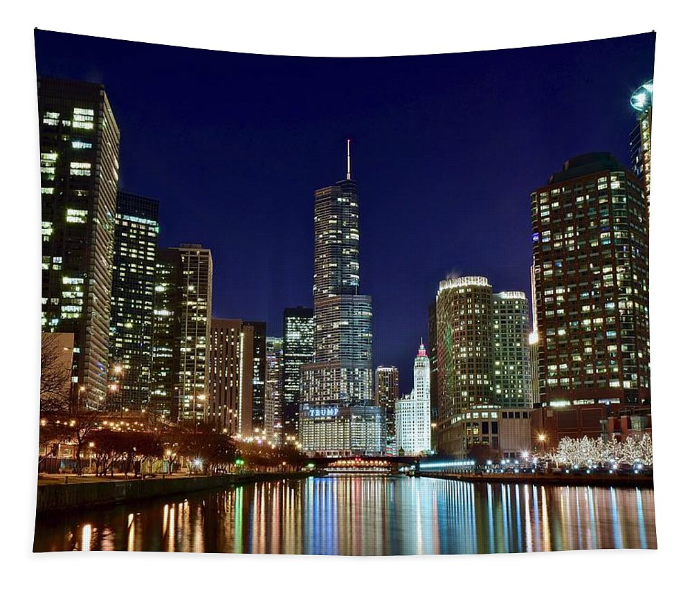 Chicago Tapestry featuring the photograph Night Lights On The River by Chicago Skyline