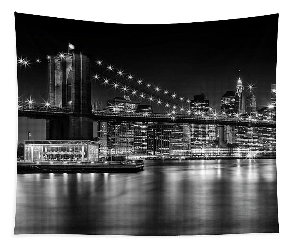 New York Tapestry featuring the photograph Night Skyline MANHATTAN Brooklyn Bridge bw by Melanie Viola