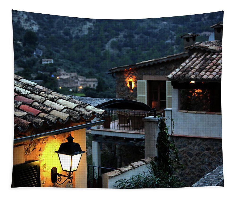Houses Tapestry featuring the photograph Night Village, Mallorca by Catalina Lira