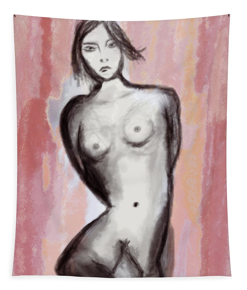 Apple Pencil Tapestry featuring the drawing Nude 51 by Bill Owen