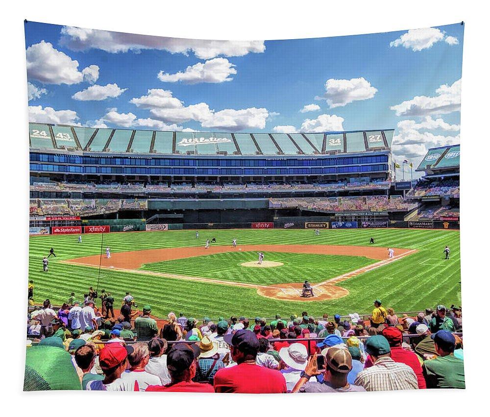 Oakland Athletics Tapestry featuring the painting Oakland Athletics Coliseum Baseball Ballpark Stadium by Christopher Arndt