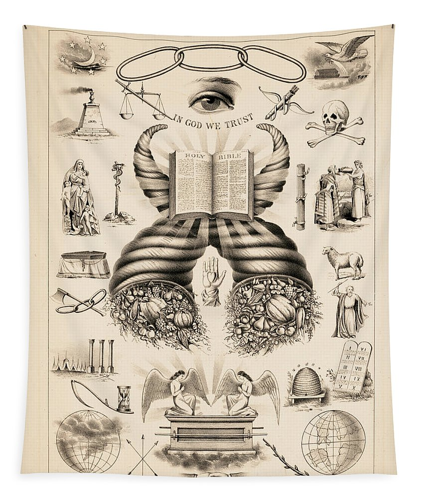 Odd-fellows Chart Tapestry featuring the painting Odd-fellows Chart, 1877 by American School