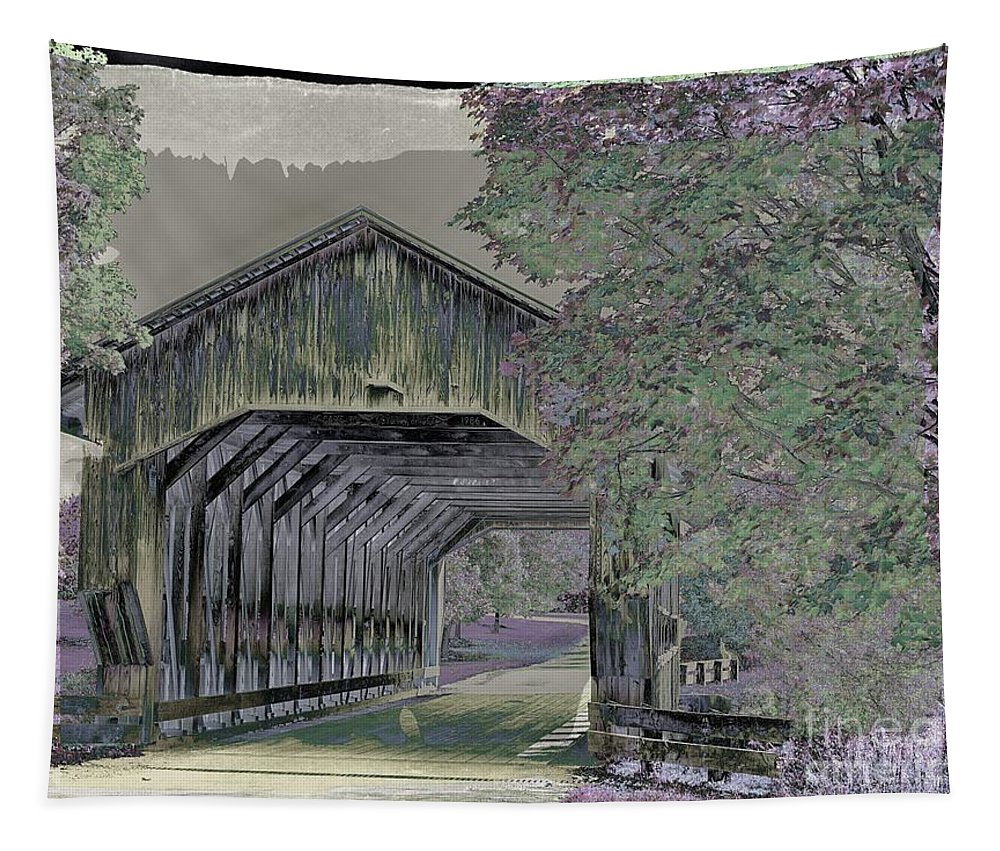 Covered Bridges Tapestry featuring the photograph Ohio Covered Bridge. by Minnetta Heidbrink