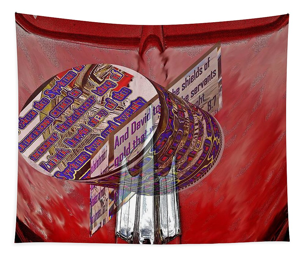 Cars Tapestry featuring the digital art Old Car Hood With 3d Text Boxes by Karl Rose