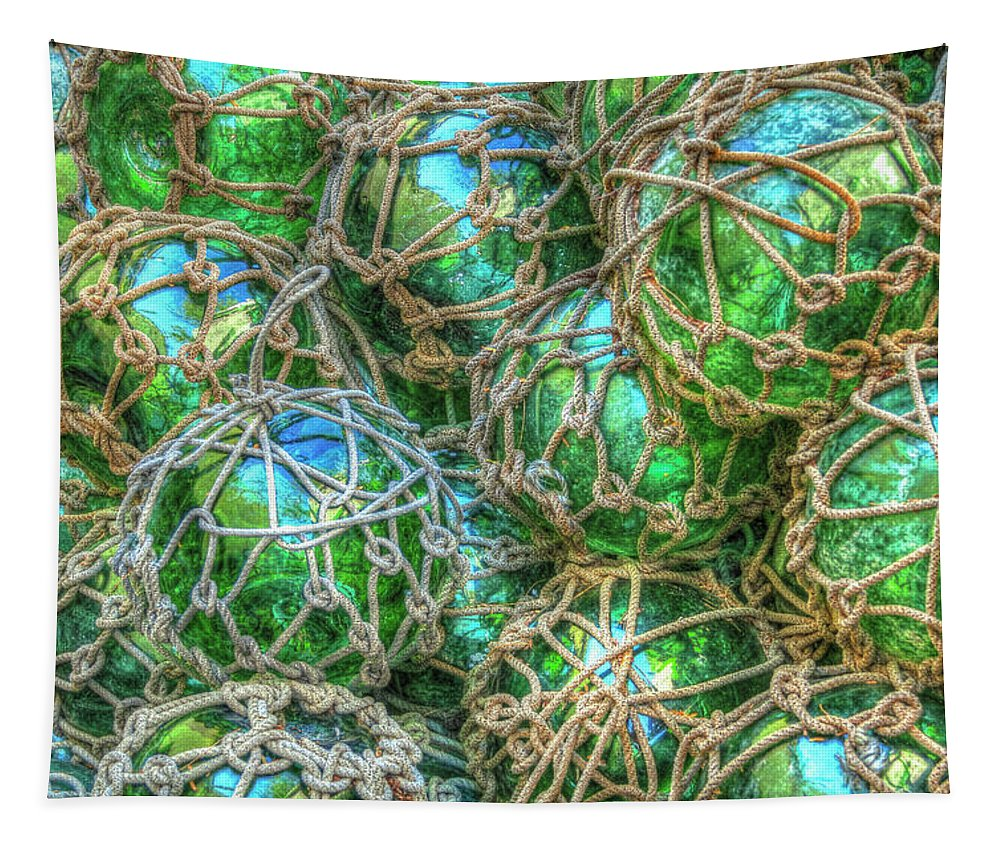 Boats Tapestry featuring the photograph Old Glass Buoys by Debra and Dave Vanderlaan