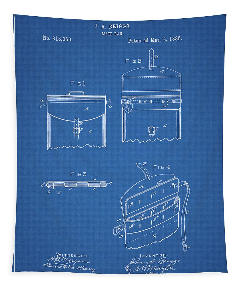Old Post Office Mail Bag Tapestry featuring the drawing Old Post Office Mail Bag by Dan Sproul