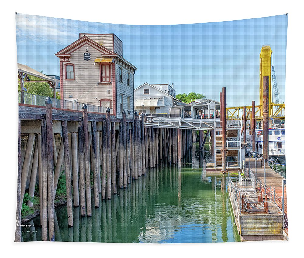 Old Town Sacramento Tapestry featuring the photograph Old Sacramento Waterfront by Jim Thompson